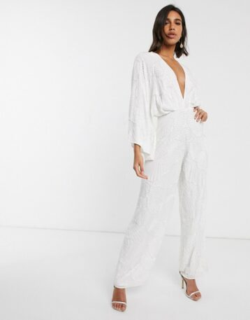 ASOS EDITION beaded kimono sleeve wide leg wedding jumpsuit Ivory