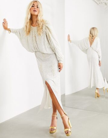 ASOS EDITION embellished pearl batwing sleeve maxi dress Ivory