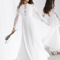 ASOS EDITION Iris long sleeve lace bodice maxi wedding dress with pleated skirt Ivory