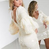 ASOS EDITION sequin and organza mini dress with puff sleeves Cream