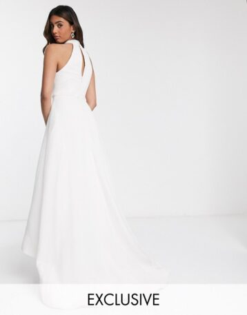 Bariano bridal high low mesh maxi dress with pockets in ivory