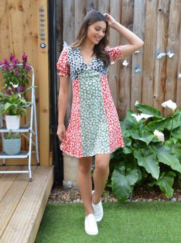 Chi Chi Chelley Print Sleeve Dress Green Multi