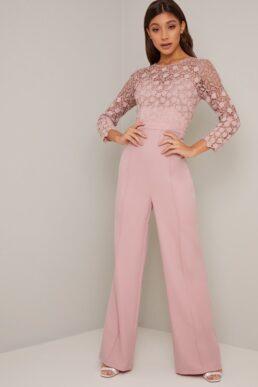 Chi Chi Dagmar Lace Crochet Sleeve Jumpsuit Pink Blush