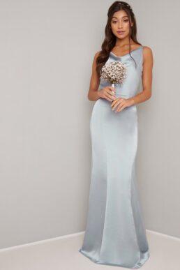 Chi Chi Delaney Cowl Slip Bridesmaid Dress Light Blue Silver