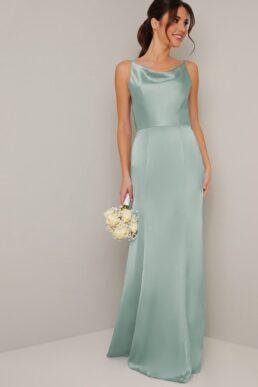 Chi Chi Juliana Cowl Slip Bridesmaid Dress Green