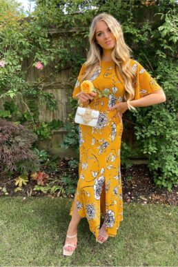 Chi Chi Nataley Floral Print Maxi Dress Yellow White