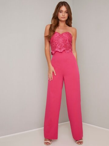 Chi Chi Otay Lace Jumpsuit Pink