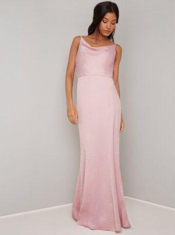 Chi Chi Simah Cowl Slip Bridesmaid Dress Light Pink Mink Blush