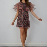 Chi Chi Telia Floral Frill Sleeve Dress Black Pink Multi