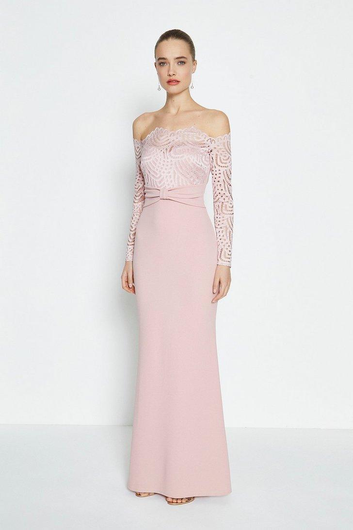 Long Sleeve Lace Bardot Maxi Dress