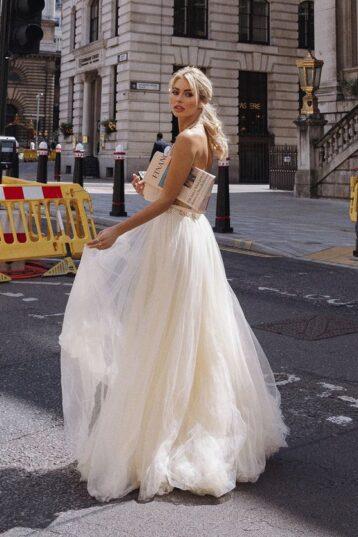 Coast Encrusted Bodice Tulle Skirt Maxi Dress Gold Ivory