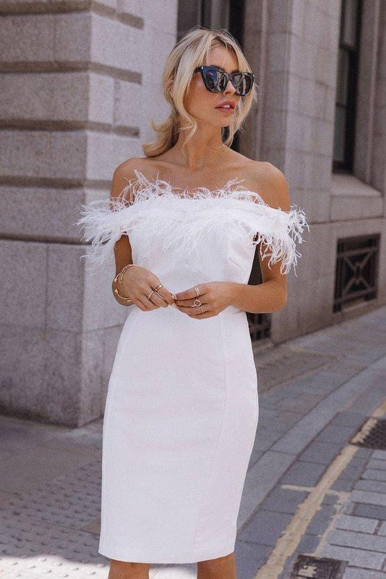 Feather Bardot Dress