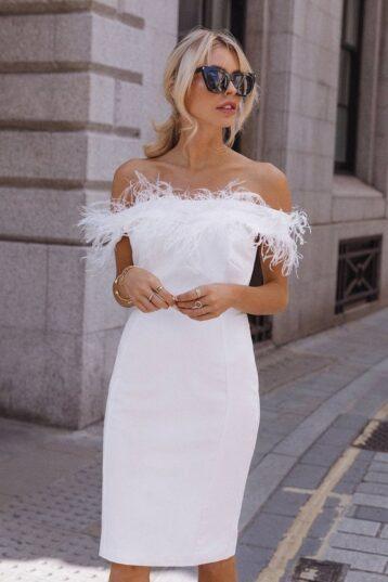 Coast Feather Bardot Shift Dress Ivory