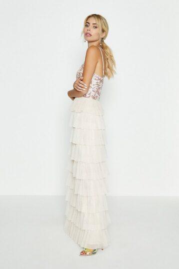 Coast Floral Sequin Bodice Tiered Hem Maxi Dress Nude Ivory