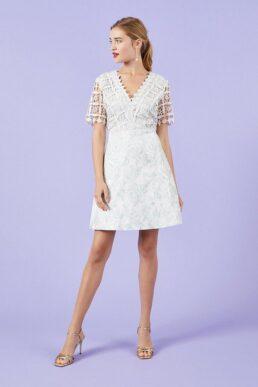 Coast Lace And Jacquard A-Line Dress Grey
