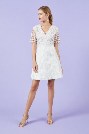 Coast Lace And Jacquard A-Line Dress Grey