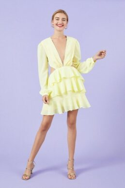 Coast Long Sleeve Cutout Lace Trim Skater Dress Lemon Yellow