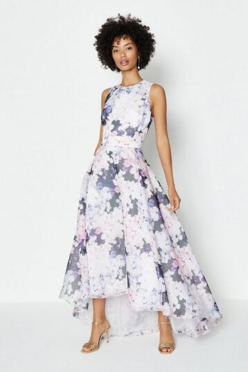 Coast Printed Full High Low Midi Dress White Multi