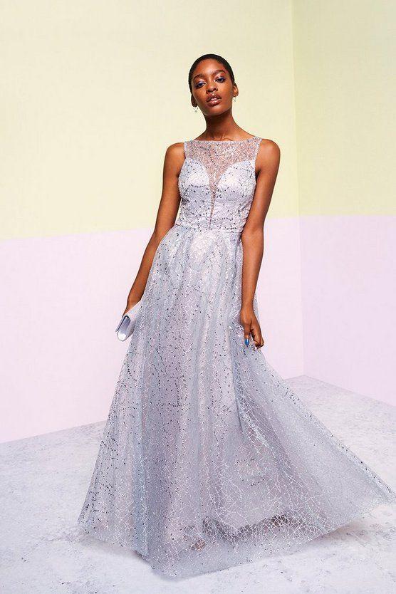 Coast Embellished Tulle Skirt Maxi Dress Grey