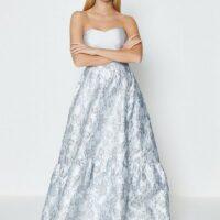 Coast Silver Jacquard Bandeau Maxi Dress Grey Silver