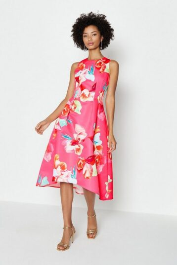 Coast Twill Hi Low Floral Dress Pink Multi