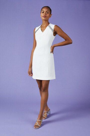 Coast V Neck Trim Dress Ivory