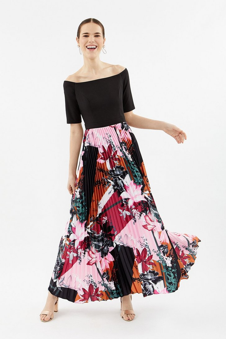 Colour Block Pleat Maxi Dress