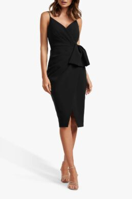 Forever New Alexis Bow Detail Wrap Neck Dress Black