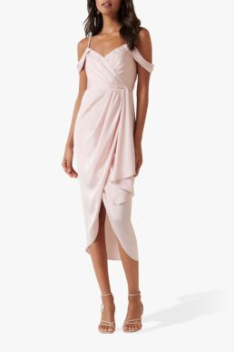 Forever New Hadley Midi Waterfall Dress Blush Light Pink