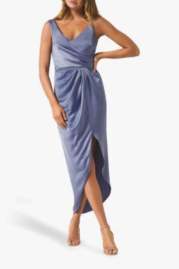 Forever New Hallie Draped Satin Midi Dress Blue Charisma
