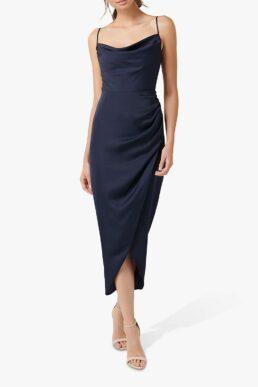 Forever New Holly Satin Cowl Neck Midi Dress Navy Blue