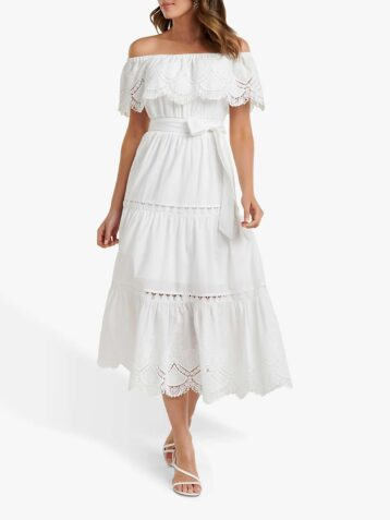 Forever New Phoebe Bardot Shirred Dress Porcelain White