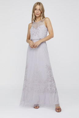 Monsoon Bella Embellished Maxi Dress Lilac Pale Purple