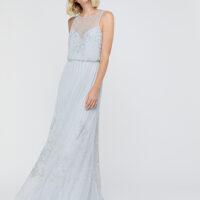 Monsoon Bella Embellished Maxi Dress Pale Blue
