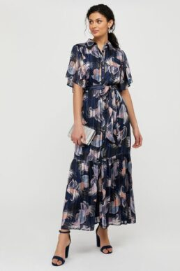 Monsoon Birdie print burnout pleated shirt dress blue Navy Multi
