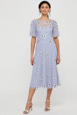 Monsoon Bryony Sequin Daisy Midi Dress Lilac Multi