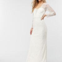 Monsoon Charlotte Geo Embellished Maxi Wedding Dress Ivory