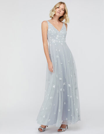 Monsoon Clemence Embroidered Maxi Dress Pale Blue