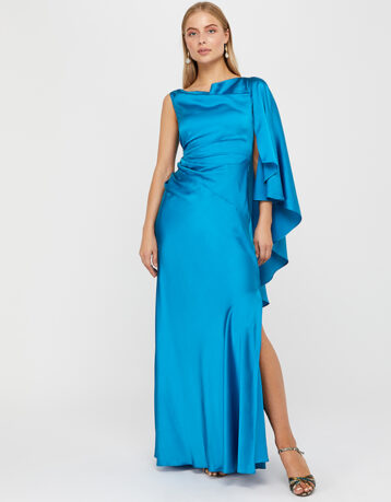 Monsoon Cobie Cape Maxi Dress Blue