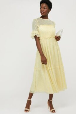 Monsoon Dafne metallic spot tiered dress yellow