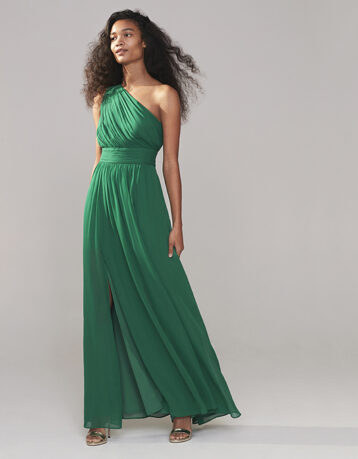 Monsoon Dani One-Shoulder Maxi Dress Green
