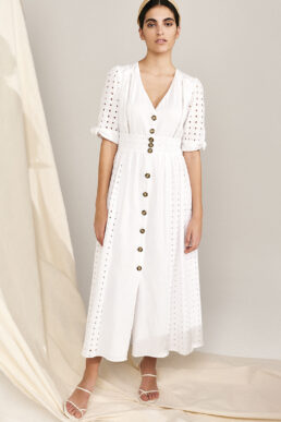 Monsoon Dolly Schiffli Midi Dress White