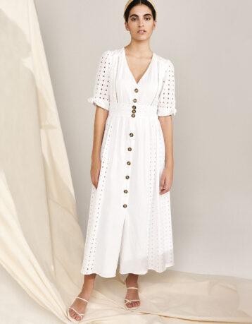 Monsoon Dolly Schiffli Midi Dress White