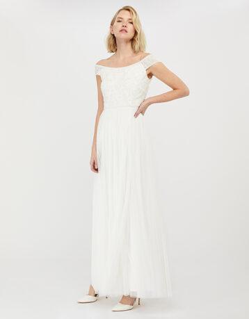 Monsoon Emmeline Bridal Bardot Embellished Maxi Dress Ivory