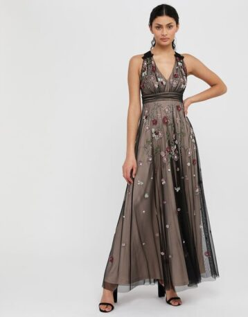 Monsoon Emmy floral sequin maxi dress Nude Black Multi