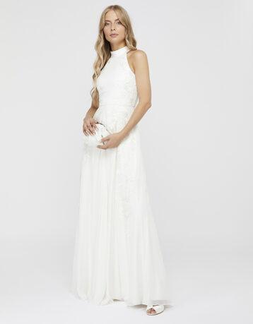 Monsoon Ethel Bridal Embellished Lace Maxi Dress Ivory
