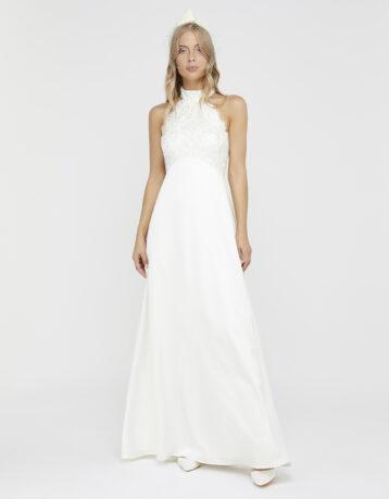 Monsoon Flora Bridal Embellished Lace Halter Maxi Dress Ivory