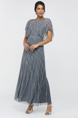 Monsoon Florence Embellished Flutter Sleeve Maxi Dress Grey