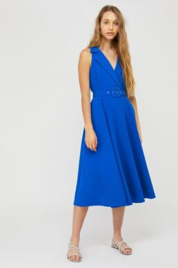 Monsoon Isla structured midi dress with belt blue