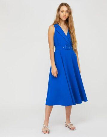 Monsoon Isla structured midi dress with belt blue